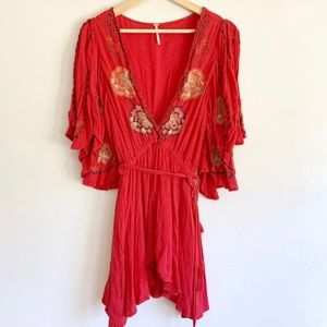Free People Cora Coral Red Embroidered Dress
